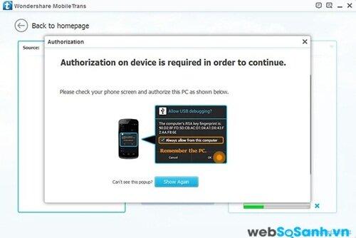 Bạn có thể kích hoạt USB Deugging, Android và chấp nhận khoá RSA (Android) hoặc