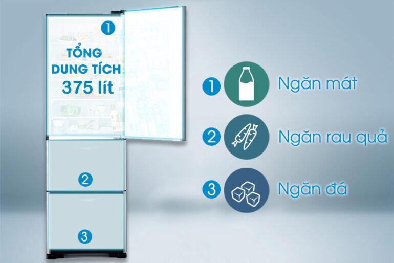 Giá tủ lạnh Hitachi 3 ngăn R-SG38FPGV (GS) 375L rất phải chăng