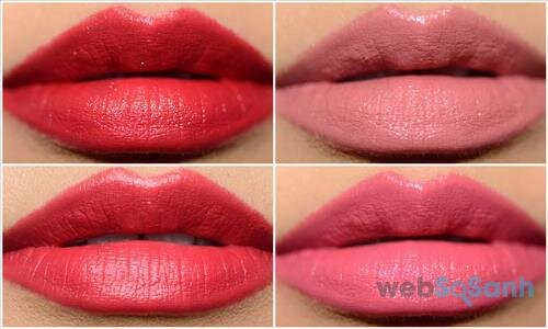 Màu Bloodstone (RD503), Burning up (RD310), Coral Shore (RD309), Crime of Passion (RD311)
