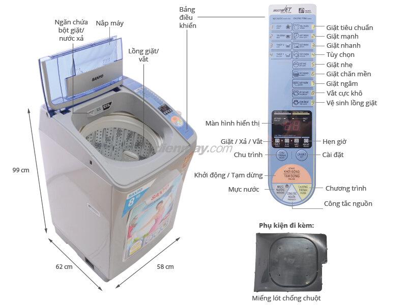 máy giặt 8kg lồng đứng sanyo giá bao nhiêu