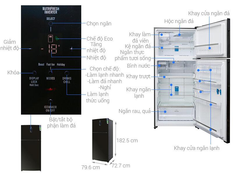 Tủ lạnh Electrolux ETE5722BA với kích thước lớn và màn hình LED điều chỉnh hiện đại
