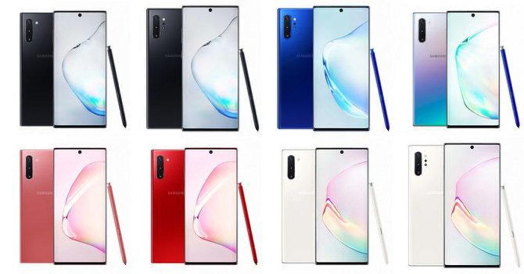màu sắc của Samsung Galaxy Note 10