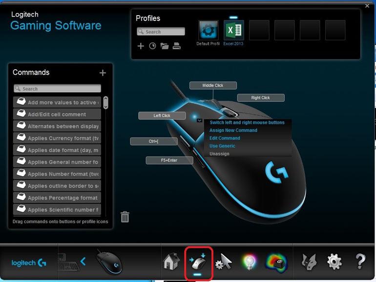 Tab này cho phép bạn gán các tính năng tùy chọn ưa thích của bạn cho các nút của chuột.