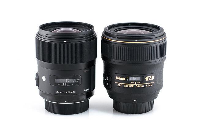 Lens Sigma 35mm f/1.4 DG HSM với lens Nikon 35mm f/1.4G