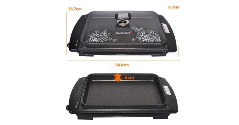 Đánh giá review bếp nướng điện Cuchen - Vỉ nướng dạng mặt phẳng có chống dính, vệ sinh tiện lợi nhanh chóng
