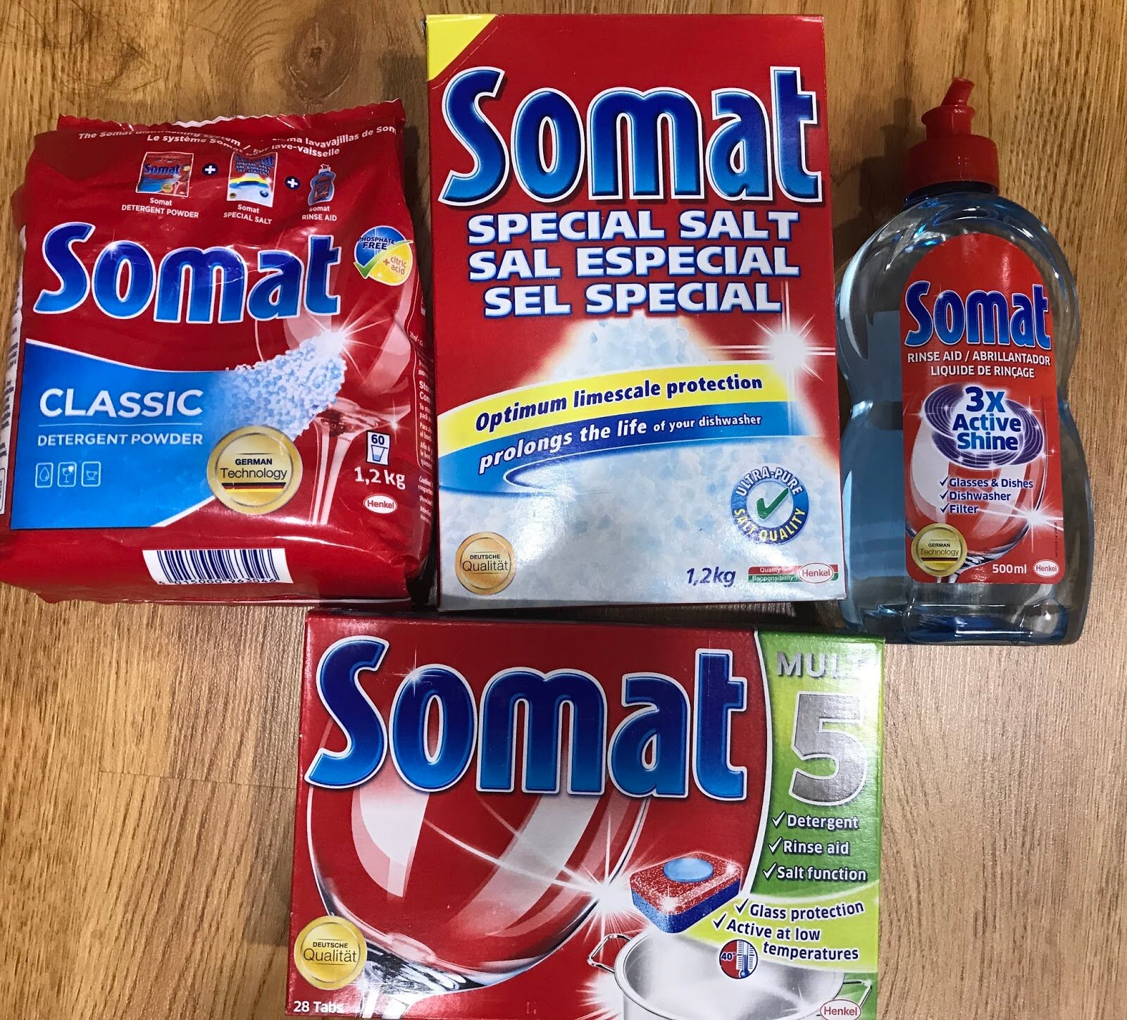 Các loại muối tái sinh, chất tẩy rửa dành cho máy rửa bát