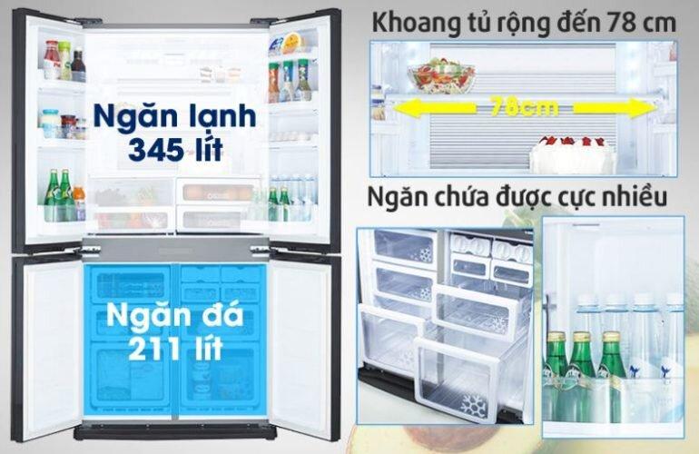 Kích thước tủ lạnh sharp sj-fx630v-st bao nhiêu ?