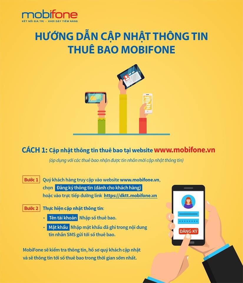 Thay vì đến cửa hàng Mobifone, bạn có thể cập nhật nhanh chóng, thuận tiện các thông tin sim của mình qua website: www.mobifone.vn