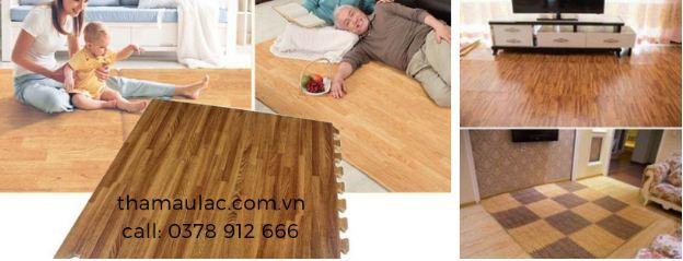 thảm xốp ghép vân gỗ màu sáng