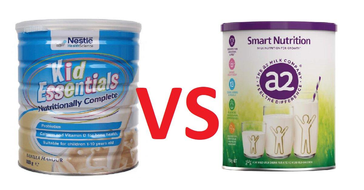 So sánh sữa a2 Smart Nutrition và Nestle Kid Essentials - nên mua sữa tăng cân nào tốt hơn cho bé?