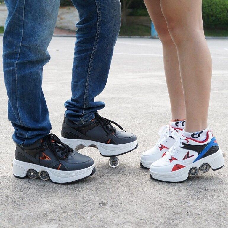 Giày patin 4 bánh gấp xếp đa năng