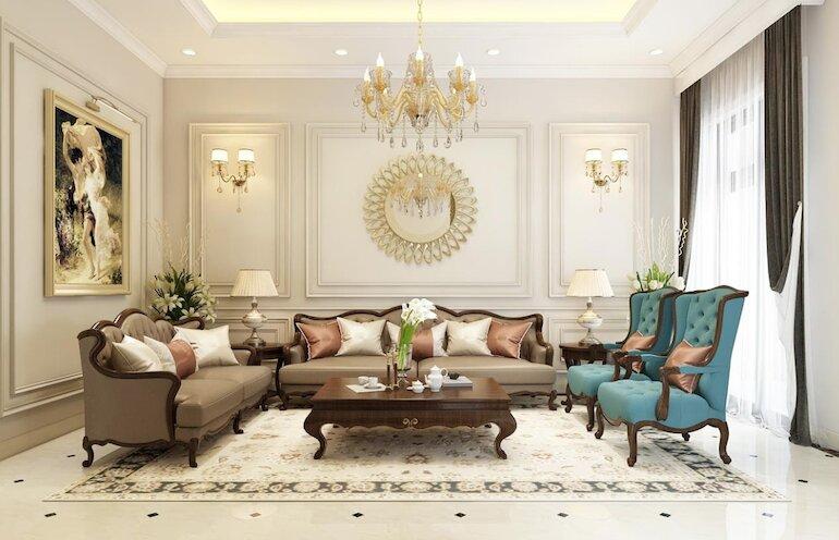 Bản chất vẻ đẹp của nội thất phòng khách tân cổ điển