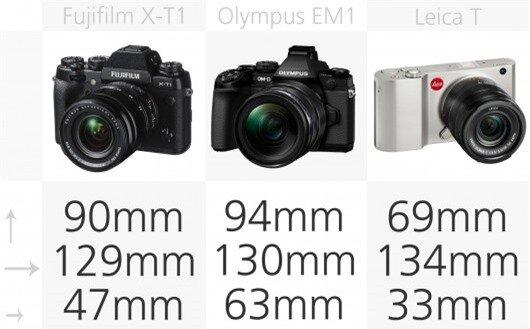 High-end mirrorless camera dimensions comparison (row 1)