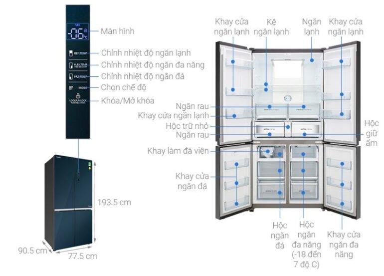 Đánh giátủ lạnh 4 cửa Toshiba inverter 622 lít GR-RF646WE-PGV(24) về thiết kế