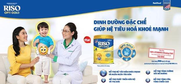 Sữa Riso Opti Gold - Giải pháp mới hỗ trợ hệ tiêu hóa của bé khỏe mạnh,hấp thu tốt tạo đà tăng trưởng cân nặng chiều cao và trí não tốt hơn
