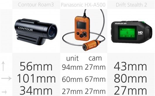 Action camera dimensions comparison (row 2)