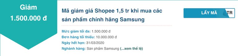 Giảm 1.5 triệu cho các sản phẩm Samsung