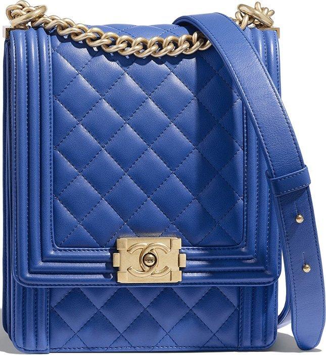Chanel Boy North South Bag xanh dương