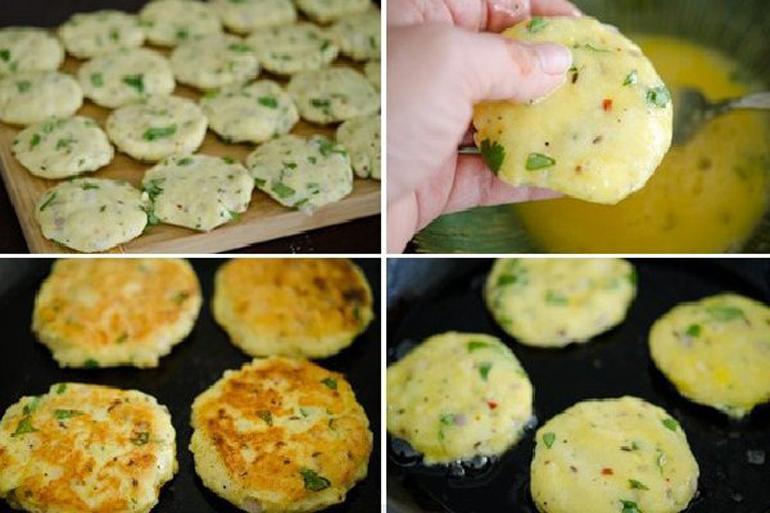 Cách làm bánh rán ăn dặm chùm ngây khoai tây