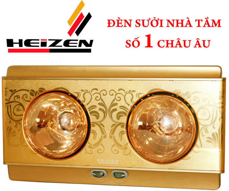 Đèn sưởi nhà tắm 2 bóng Heizen cho phòng tắm diện tích nhỏ 2-3m2