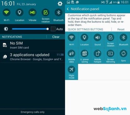 Khu vực thông báo và phím chọn nhanh trên Galaxy A3