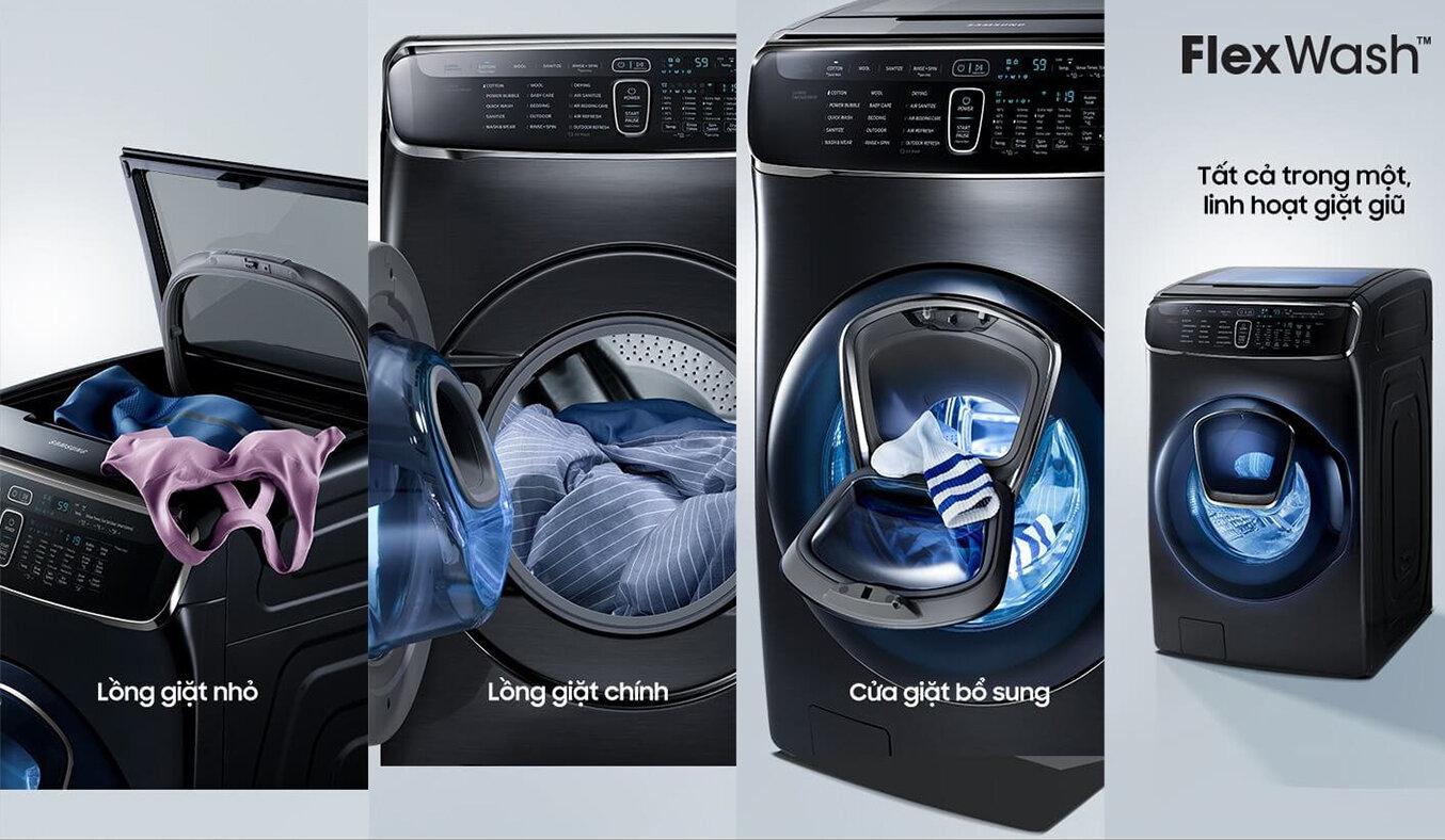 Máy giặt sấy Samsung 21 kg lồng đôi FlexWash WR24M9960KV/SV