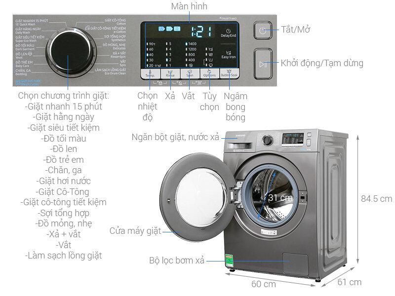 Máy giặt Samsung WW80 J54BEOX /SV Inverter