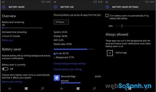 Hệ sinh thái windows trên Lumia 550 khá ngốn pin