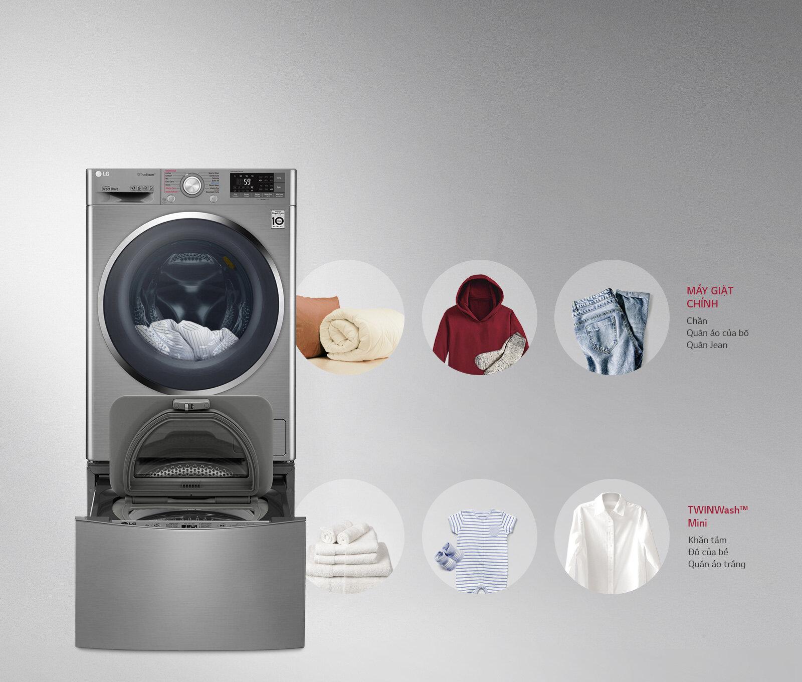 Máy giặt Twin Wash LG TWC1409S2E