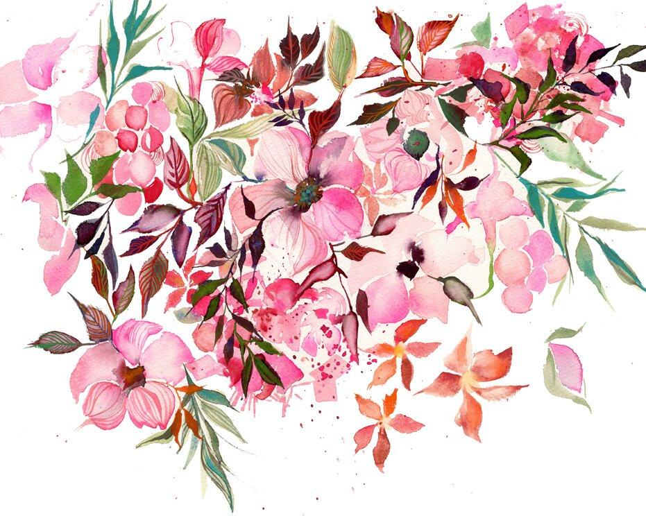 Sự kết hợp những bông hoa màu hồng với nhau