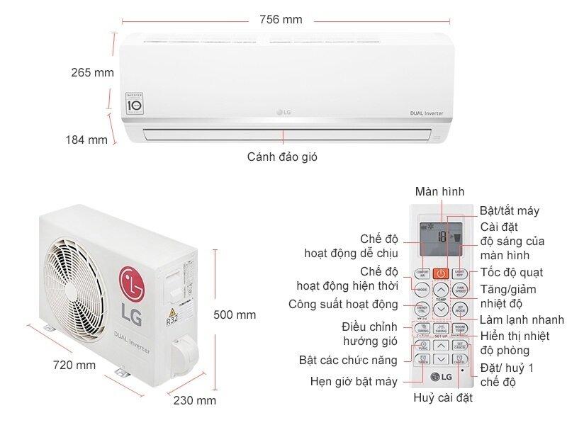 Thông số về kích cỡ các bộ phận của máy LG V10ENW 1 chiều