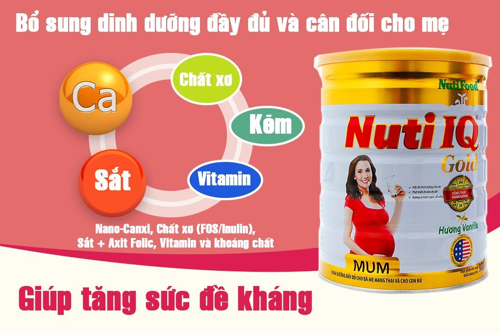 Sữa bột cho bà bầu Nuti IQ Mum Gold - nguồn dinh dưỡng thiết yếu
