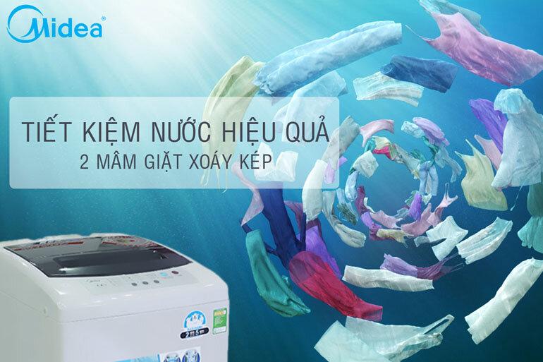 Công nghệ Inverter cùng 2 mâm giặt xoáy giúp tiết kiệm tối đa lượng nước sử dụng