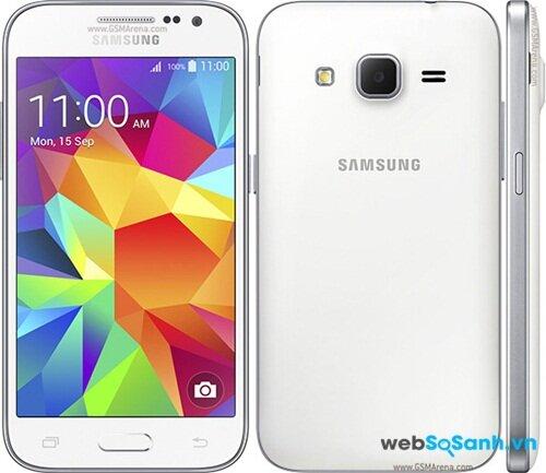 Phong cách thiết kế của Samsung Galaxy Core Prime tương tự các mẫu Galaxy tầm trung