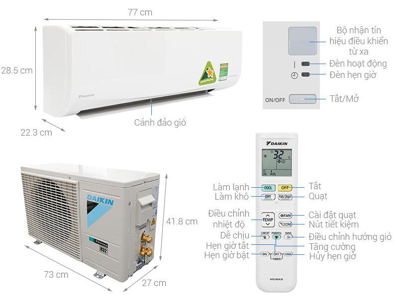 Các thông số và bộ phận kỹ thuật của máy điều hòa Daikin FTKQ25SAVMV