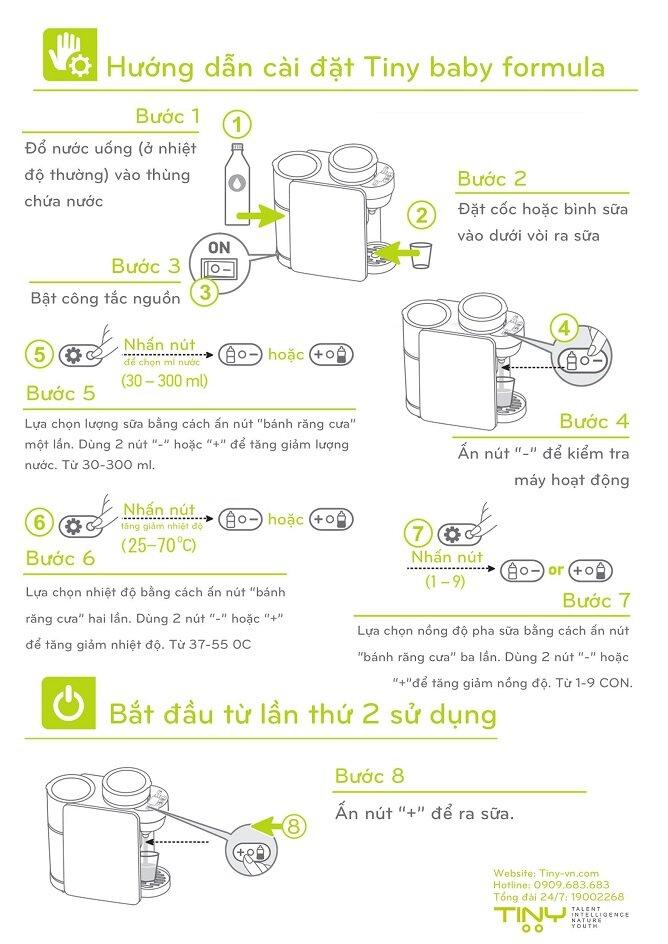 Hướng dẫn cài đặt máy pha sữa Tiny Baby Formula Japan