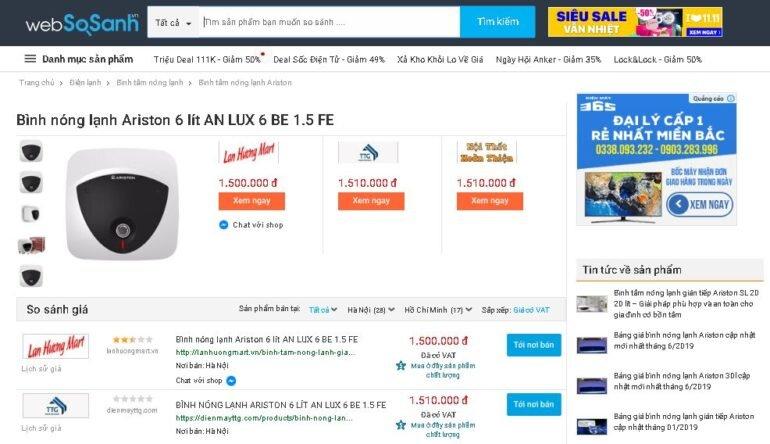 Bình nóng lạnh Ariston 6 lít AN LUX 6 BE 1.5 FE - Giá rẻ nhất: 1.500.000 vnđ