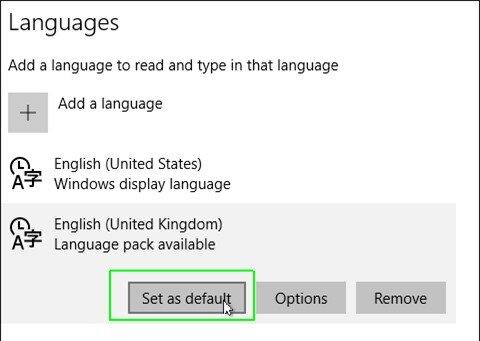 Select set as default