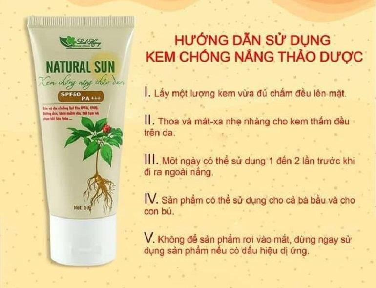 Cách sử dụng kem chống nắng thảo dược Linh Hương: