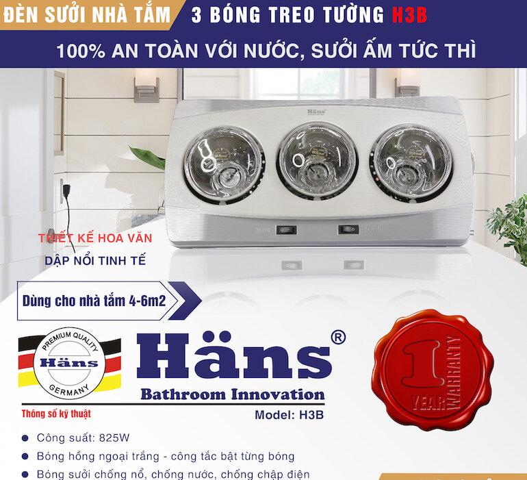 Những lưu ý khi sử dụng đèn sưởi Hans 3 bóng