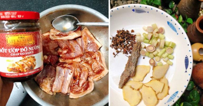 Cho các nguyên liệu đã chuẩn bị sẵn sàng vào ướp với thịt trừ mắc khén, sả, gừng, quế để 30 phút - 1h cho thấm gia vị.