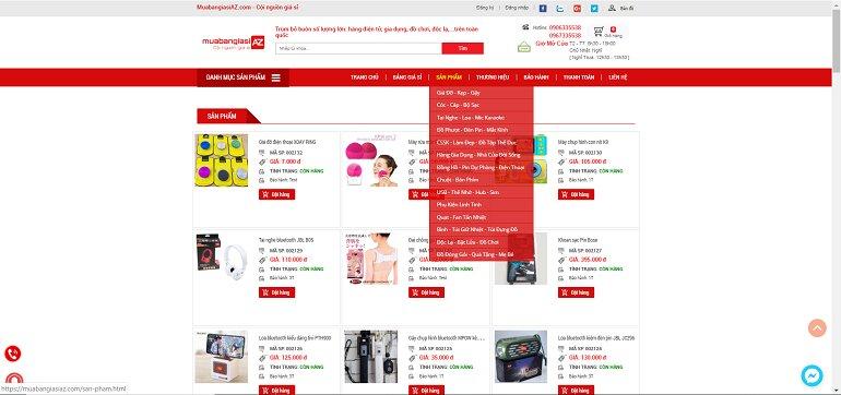 Danh sách sản phẩm có tại muabangiasiAZ