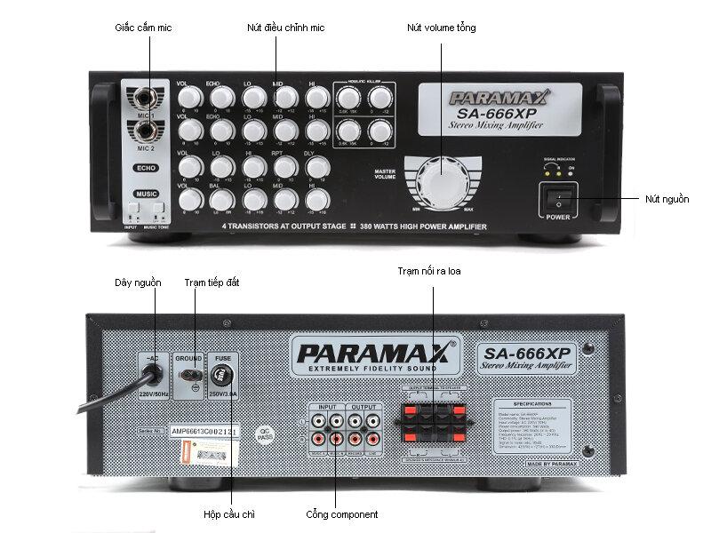 Mặt trước và mặt sau của Amply Paramax SA-666XP