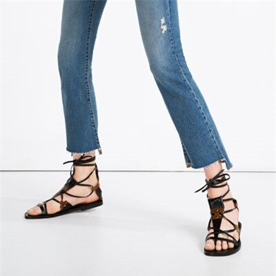 Image 4 of LEATHER LACE-UP SANDALS from Zara