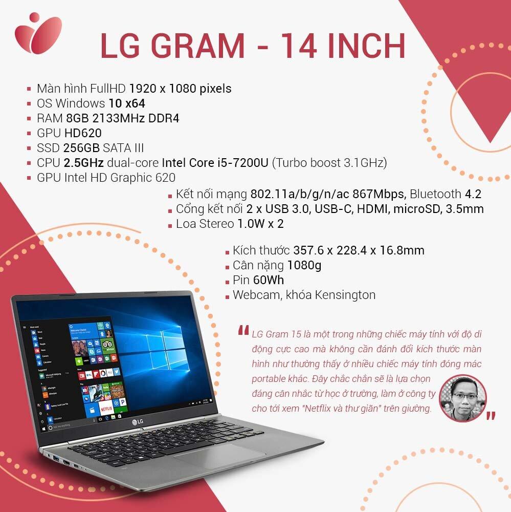LG Gram có thông số kỹ thuật nổi bật so với các sản phẩm laptop tương đương