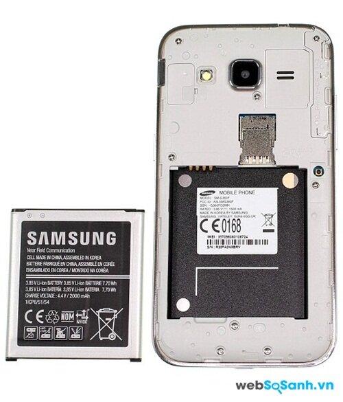 Điện thoại Galaxy Core Prime có pin 2.000 mAh có thể tháo rời