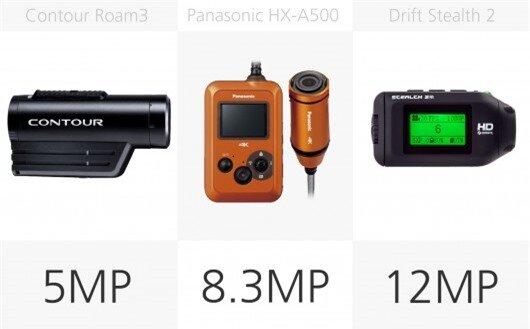 Action camera stills megapixel comparison (row 2)