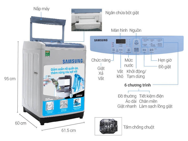 Máy giặt cửa trên Samsung WA90M5120SW