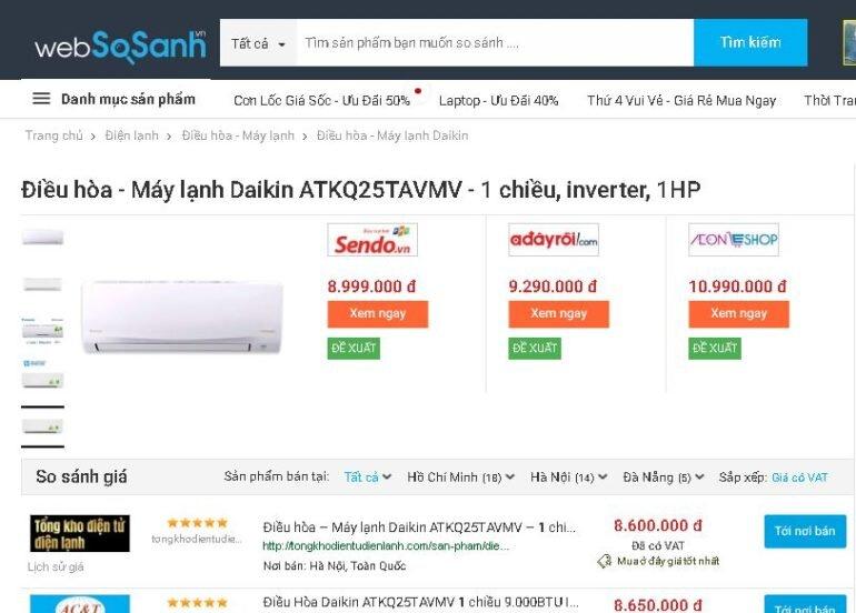 Điều hòaDaikin Inverter 1 HP ATKQ25TAVMV - Giá rẻ nhất: 8.600.000 vnđ