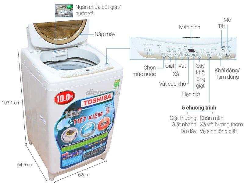 Máy giặt cửa trên Toshiba aw-b1100gv (wd) 10kg